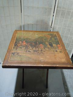 Antique Folding Card Table with Hunting Scene B