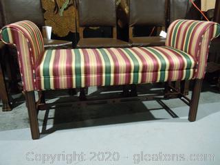 Vintage Rolled Arm Upholstered Bench