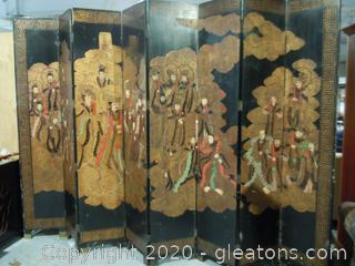 Asian Wooden Hand Carved and Painted 8 Panel Room Divider