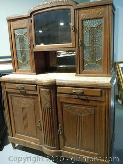 Vintage 2 Piece Oak Side Board with Marble Top and Detailed Carving