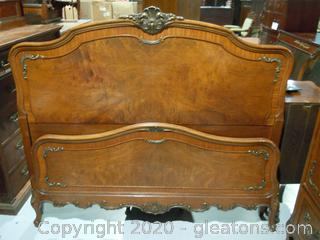 Vintage Johnson Furniture Co. French Providencial Headboard and Foot Board Antique Full Size