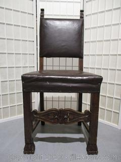 Pair of Italian Renaissance Carved Upholstered Chairs (Set C)