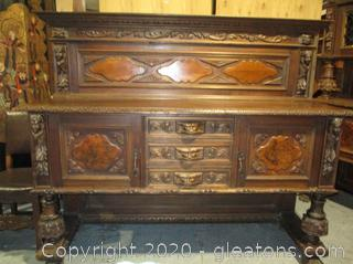 Antique Italian Renaissance Highly Carved Sideboard