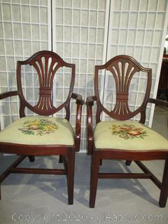 Pair of Mahogany Shield Back Captains Dining Chairs
