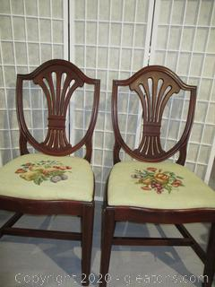Pair of Mahogany Shield Back Dining Chairs