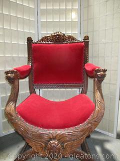 Antique Italian Renaissance Highly Carved Walnut X-Frame Arm Chair
