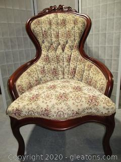 Tufted Back Side Chair with Flower Carving