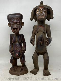Pair Of Handcarved Wooden Statues