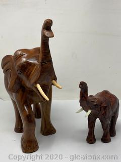 Set Of Wooden Carved Elephants