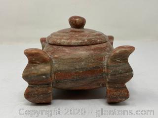Round Stone Box W/Lid