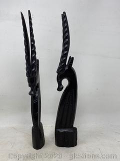 Vintage Handcarved Wooden Antelope Sculpture
