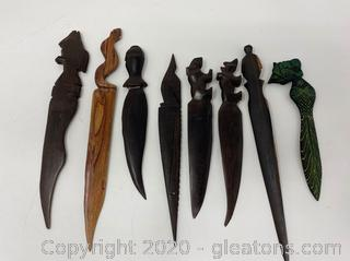 Collection Of Handcarved Letter Openers