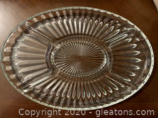 Divided Oval Crystal Tray