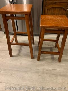 2 Wood Bar/Counter Stools