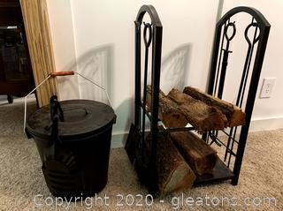 Log Rack/Tool Set and Ash Bucket Set