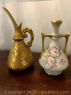 Vintage Miniature Porcelain Vase and Pitcher