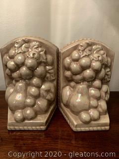 Ceramic Boookends With raised Fruit