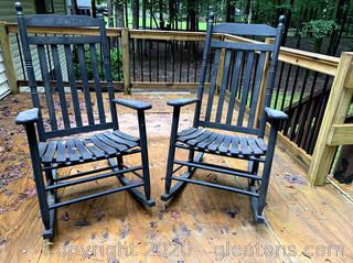 Wood Rocking Chairs Pair