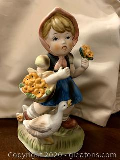 Vintage Flambro Girl with Duck Figurine