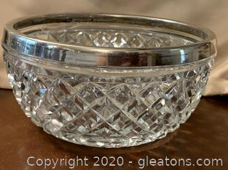 Crystal Bowl with Silver Rim