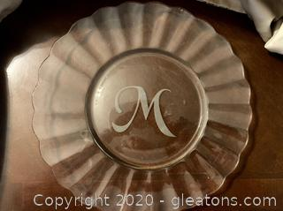 "Crystal Serving Tray with Etched ""M"" in Center"