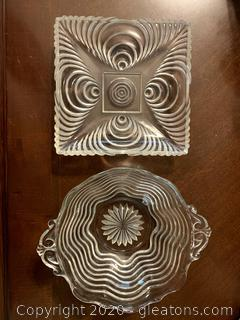 Retro Mid Century Glass Candy Dishes (2)