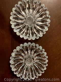 Vintage Sunflower Shape Pressed Glass Candle Holder Set