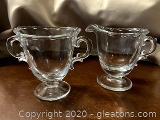 Crystal Cream and Sugar Set