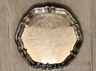 Vintage Round Silver Footed Serving Tray