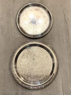 2 Vintage Round Silver Trays
