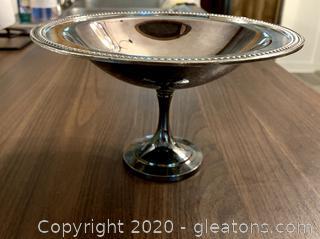 Vintage Oneida Silver Dish on Pedestal