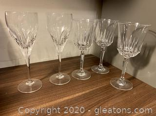 Assorted Crystal Stemware Lot of 5 Pc