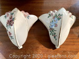 Vintage 1940's Wall Pocket Vases Pair