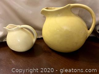 Primitave Yellow Stoneware Pitchers (2)