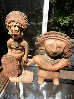 Vintage Mexican Pottery Clay Mayan Figurines