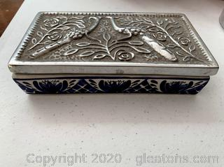 Mexican Art Pottery Blue & White Trinket Box with Silver Pewter Lid