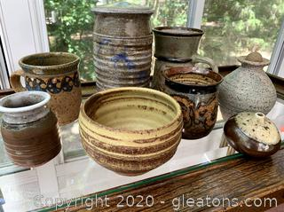 Handcrafted & Signed Pottery Decor 8 Pc Lot