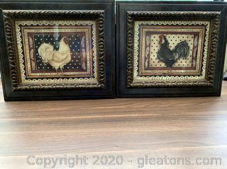 Pair of Rooster Pictures Framed Wall Art