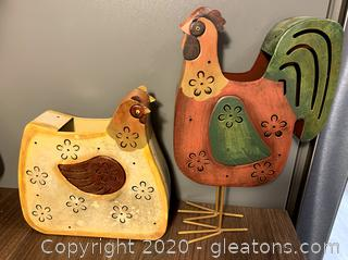 Metal Rooster & Hen Decor Votive Holders