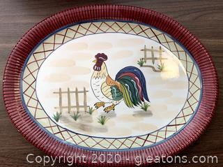 Rooster Serving Platter Decor