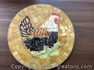 Nesting Hen Chicken Mosaic Wall Art Decor