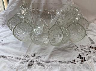 Vintage Brockway Square Punch Bowl Set