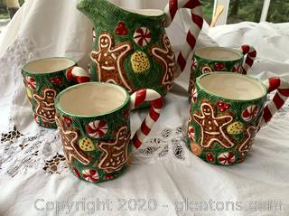 Christmas Gingerbread People Pitcher & Mugs Set