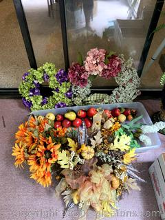 Artificial Flowers Wreaths and Fruit Swag Lot