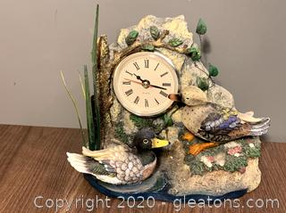 Vintage Ducks Figurine with Quartz Clock