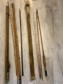 Vintage Split Bamboo Fly Rods Lot