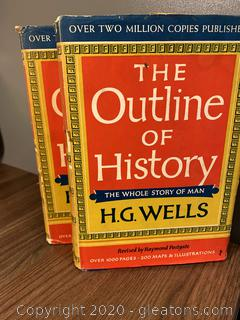 1956 H.G Wells The Outline of History Set of 2 Books