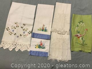 Vintage Embroidered Hand Tea Towels Lot