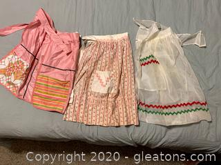 Vintage Hand Sewn Half Aprons Lot of 3
