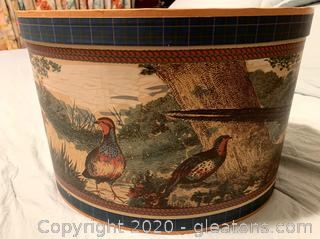 Vintage Oval Hat/Storage Box with Pheasants Decor